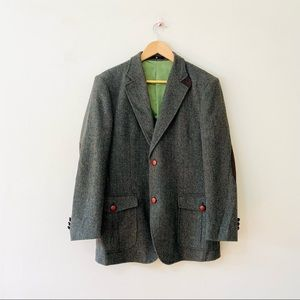 Maestro Green Herringbone Suit Jacket Equestrian Elbow Patches Cashmere 95